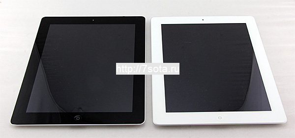 Сравнение iPad 3 и iPad 2, внешние отличия. Вид спереди.